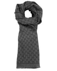 9e64ee955ec Gucci Dark Grey Monogrammed Reversible Twill Scarf in Gray - Lyst