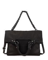 Elliott Lucca | Black Iara Leather Foldover Crossbody Tote Bag | Lyst