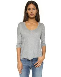 T By Alexander Wang - Gray Classic Low Neck Longsleeve Tee - Lyst