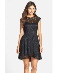 683f39195067e Lyst - Adelyn Rae Lace Fit   Flare Dress in Black