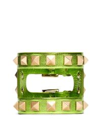 Valentino - Green Rockstud Cutout Leather Bracelet - Lyst