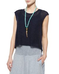 Eileen Fisher - Blue Chunky Knit Top W/ Back Vent - Lyst