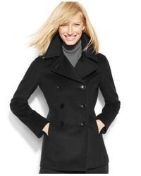 Calvin Klein | Black Plus Wool-cashmere-blend Peacoat With Infinity Scarf | Lyst