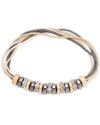Nine West | Metallic Tri-tone Multi-strand Stretch Bracelet | Lyst