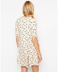 ASOS | Natural Swing Dress With Pockets In Bird Print With Half Sleeve | Lyst