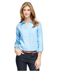 Brooks Brothers | Blue Long-sleeve Linen Shirt | Lyst
