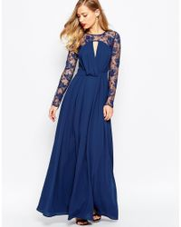ASOS | Blue Kate Lace Maxi Dress With Long Sleeves | Lyst