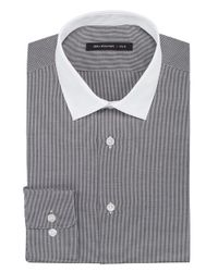 John Varvatos - Gray Twill Houndstooth Contrast Collar Dress Shirt for Men - Lyst