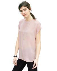 Banana Republic | Pink Cap-sleeve Crepe Top | Lyst