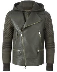 Neil Barrett - Gray Hooded Biker Jacket for Men - Lyst
