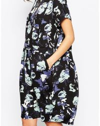 Minimum - Green Floral Short Sleeve Shift Dress - Lyst