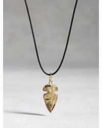 John Varvatos | Metallic Leather & Bronze Arrowhead Necklace for Men | Lyst
