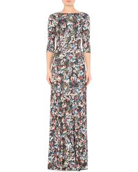 Erdem   Black Valentina Floral-Print Gown   Lyst