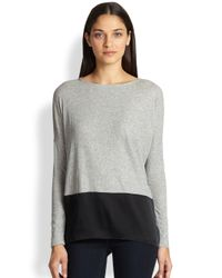 Alice + Olivia - Gray Cotton & Stretch Silk Combo Top - Lyst