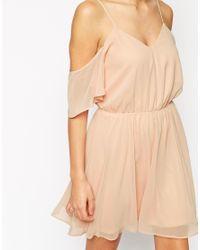 ASOS - Green Cold Shoulder Flutter Sleeve Skater Dress - Lyst