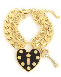 Juicy Couture | Metallic Heart Padlock Statement Bracelet | Lyst