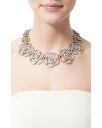 Oscar de la Renta | Metallic Pave Flower Necklace | Lyst