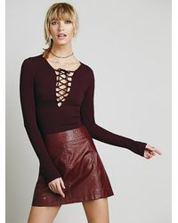 Free People | Purple Lace-Up Seamless-Knit Top | Lyst