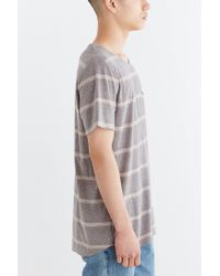 BDG - Gray Control Stripe Wide Neck Standard-fit Pocket Tee for Men - Lyst