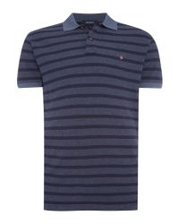 GANT - Blue Breton Stripe Pique Polo for Men - Lyst