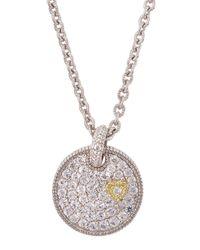 Judith Ripka | Metallic Pav White Sapphire Heart Disc Necklace | Lyst