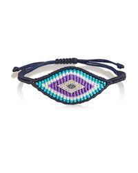 Diane Kordas | Multicolor Evil Eye Woven Silk, Diamond And Sapphire Bracelet | Lyst