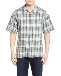 Tommy Bahama | Black 'house Of Plaid' Original Fit Silk Camp Shirt for Men | Lyst