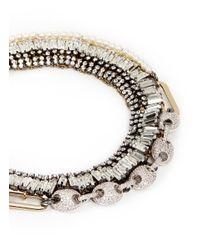 Venna | Metallic Crystal Pavé Station Collar Necklace | Lyst