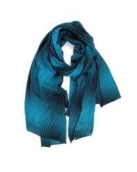 Michael Stars | Blue Plaid Pattern Plush Wrap | Lyst