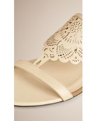 Burberry - Natural Lace-Look Leather Sandals - Lyst