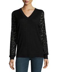 Neiman Marcus | Black Animal Burnout-sleeve Cashmere Top | Lyst