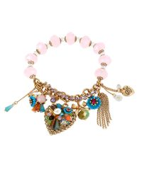 Betsey Johnson | Metallic Weave And Sew Floral Charm Stretch Bracelet | Lyst