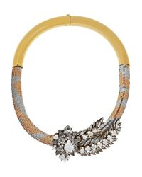 Shourouk | Metallic Aigrette Gold-Plated, Swarovski Crystal And Sequin Necklace | Lyst