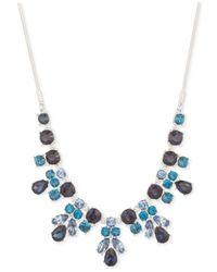 Nine West - Silver-tone Blue Crystal Drama Necklace - Lyst