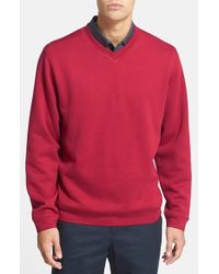 Cutter & Buck | Red 'decatur' V-neck Sweater for Men | Lyst