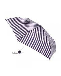 Lulu Guinness | Blue Painterly Stripe Superslim Umbrella | Lyst