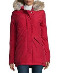 Woolrich - Red Arctic Placket-front Parka W/ Fur Hood - Lyst