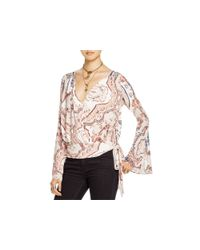 Free People - Red Fiona's Paisley Print Wrap Top - Lyst