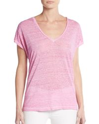 Joie - Pink Chancey Linen Jersey V-neck Tee - Lyst