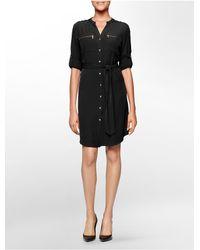 Calvin Klein | Black White Label Mandarin Collar Zip Detail Belted Roll-up Sleeve Dress | Lyst