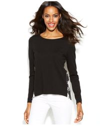 INC International Concepts - Black Long-Sleeve Printed-Back Top - Lyst