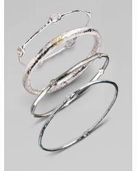 Ippolita | Metallic Stella Diamond & Sterling Silver Five-stone Bangle Bracelet | Lyst