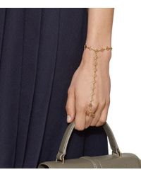Tory Burch - Metallic Mini Clover Hand-chain Bracelet - Lyst