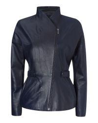 Jaeger - Blue Waisted Leather Jacket - Lyst