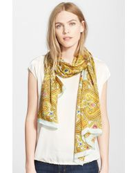 Ted Baker - Green 'Jewel' Paisley Print Silk Scarf - Lyst