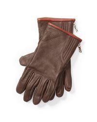 Polo Ralph Lauren - Brown Quilted Deerskin Zip Gloves for Men - Lyst