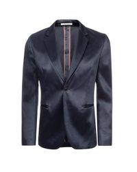 Paul Smith - Black Slate Blue Cotton-Blend Satin Single-Button Blazer for Men - Lyst
