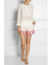 Alice By Temperley - Myra Embroidered Cotton Shorts - Lyst