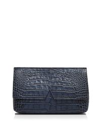 Vince | Blue Clutch - Signature Croc-stamped Medium | Lyst