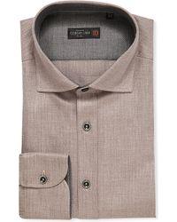 Corneliani | Natural Flannel Slim-fit Cotton Shirt, Men's, Size: 16, Beige for Men | Lyst